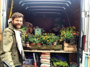Tom delivering flowers to a wedding in his Brighton removals van
