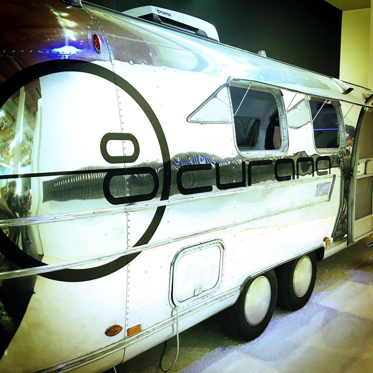 Airstream Mobile Lounge Messestand Eurobike closeup