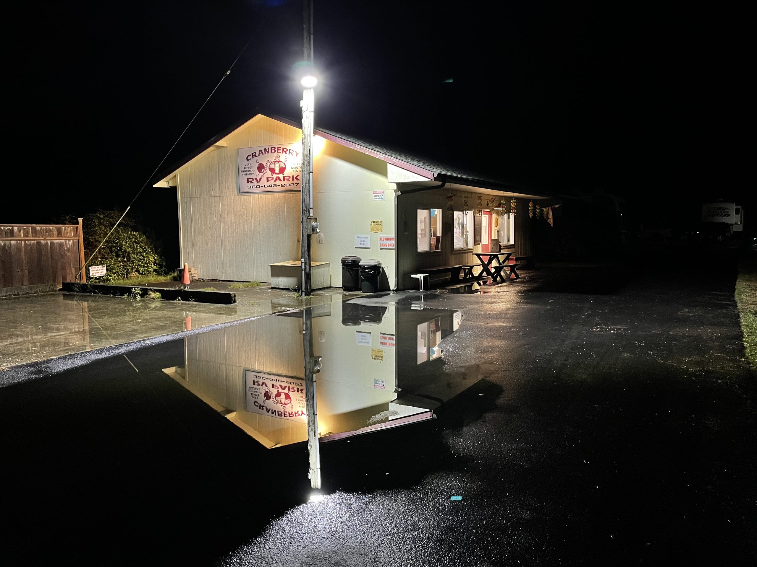 Cranberry RV Park at night after the rain