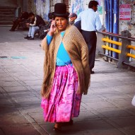 Woman Talking on the Phone in La Paz