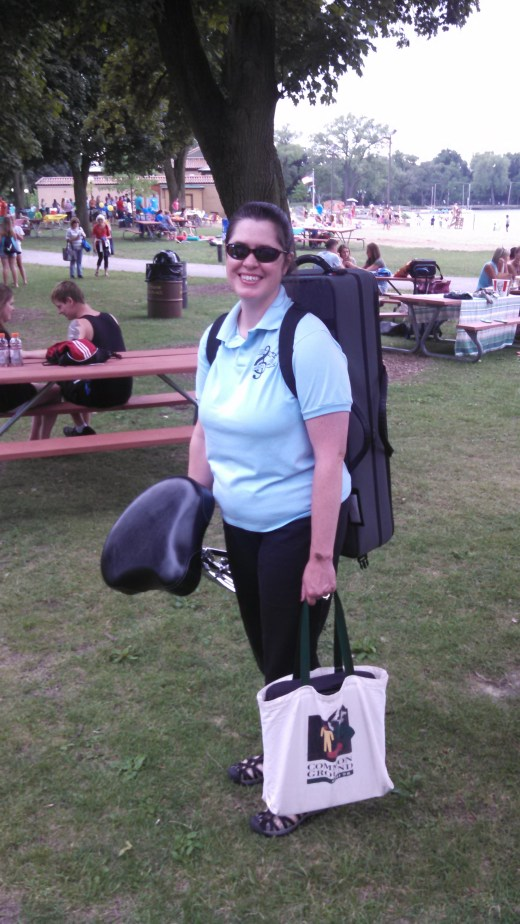 Lori with most of her summer band gear