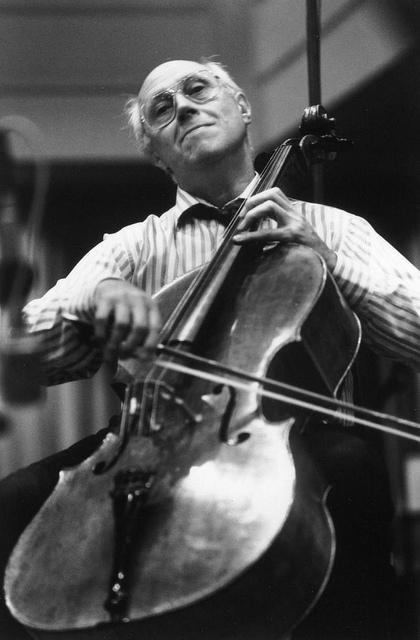 "Mstislav ""Slava"" Rostropovich playing cello."