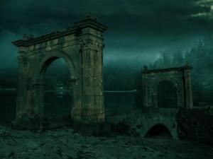 Photo of a spooky, ruined bridge