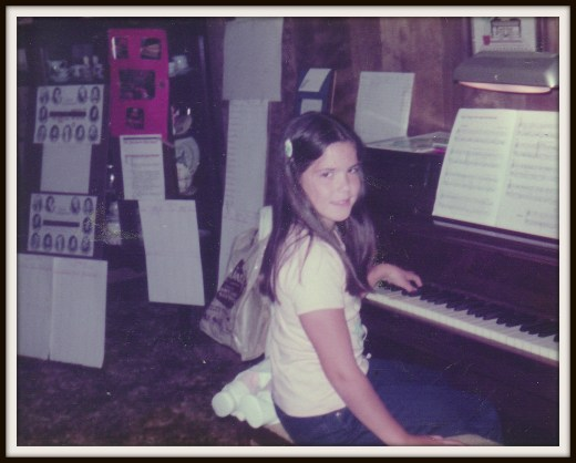 Lori at a piano lesson, ca. 1983