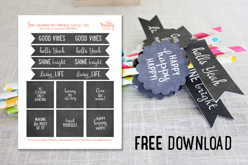 FREE Chalkboard Party Flags & Tags Download