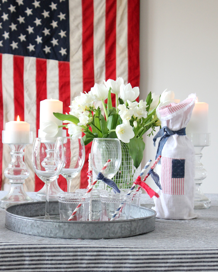 Fourth of July Tablescape and DIY Wine Bag