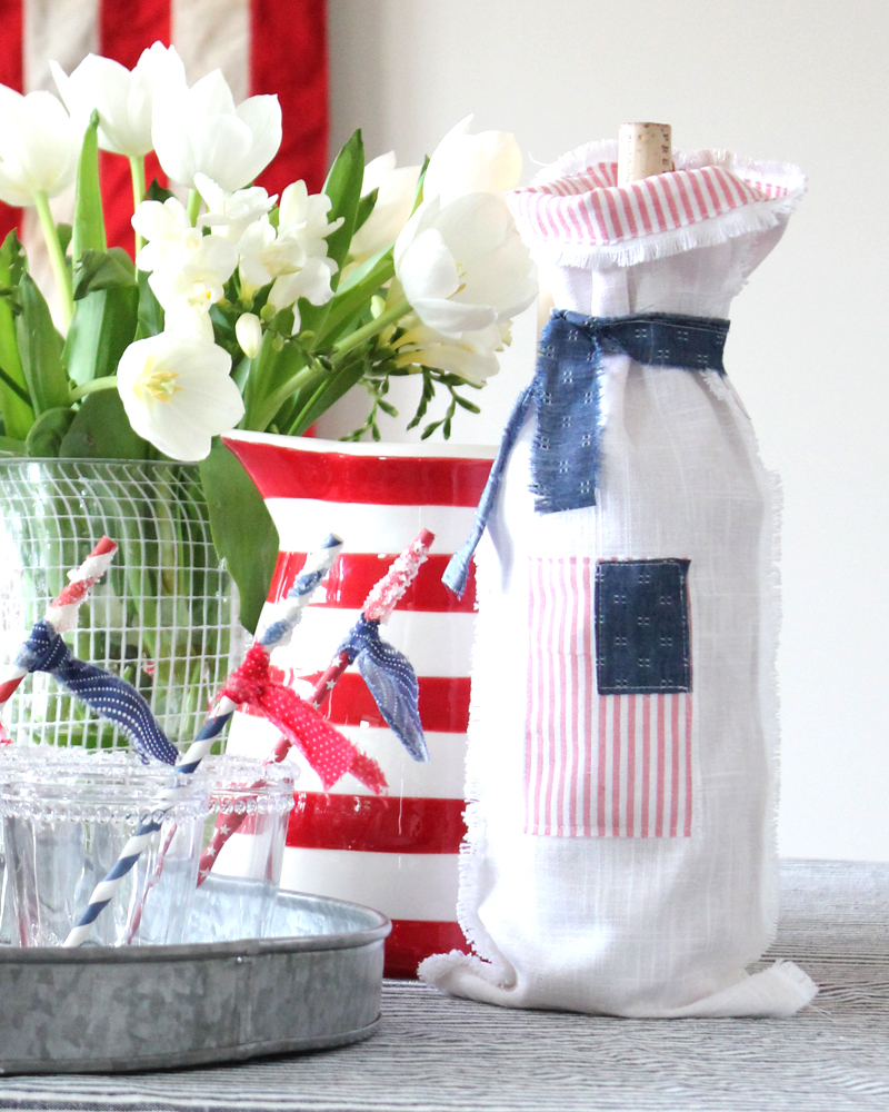 DIY Fourth of July Wine Bag & Sugar Party Straws