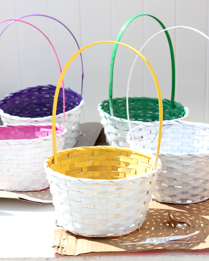 DIY White Easter Baskets with Colorful Insides