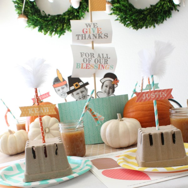 Thanksgiving Kids Table with DIY Mayflower Centerpiece