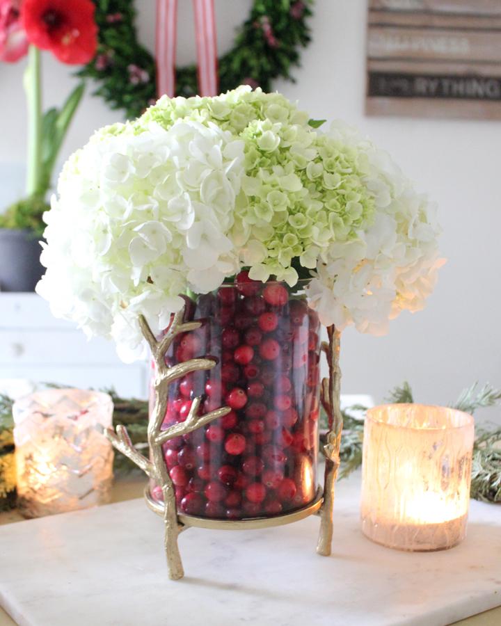 DIY Cranberry Vase for Christmas