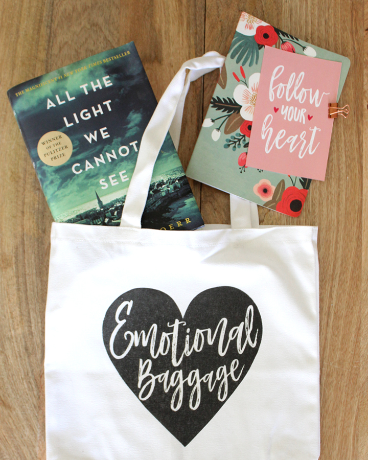 DIY Emotional Baggage Tote and DIY Valentine's Day Cards and Notebooks