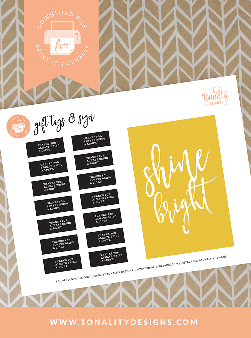 FREE Printable Gift Tags: Thanks for always being a light