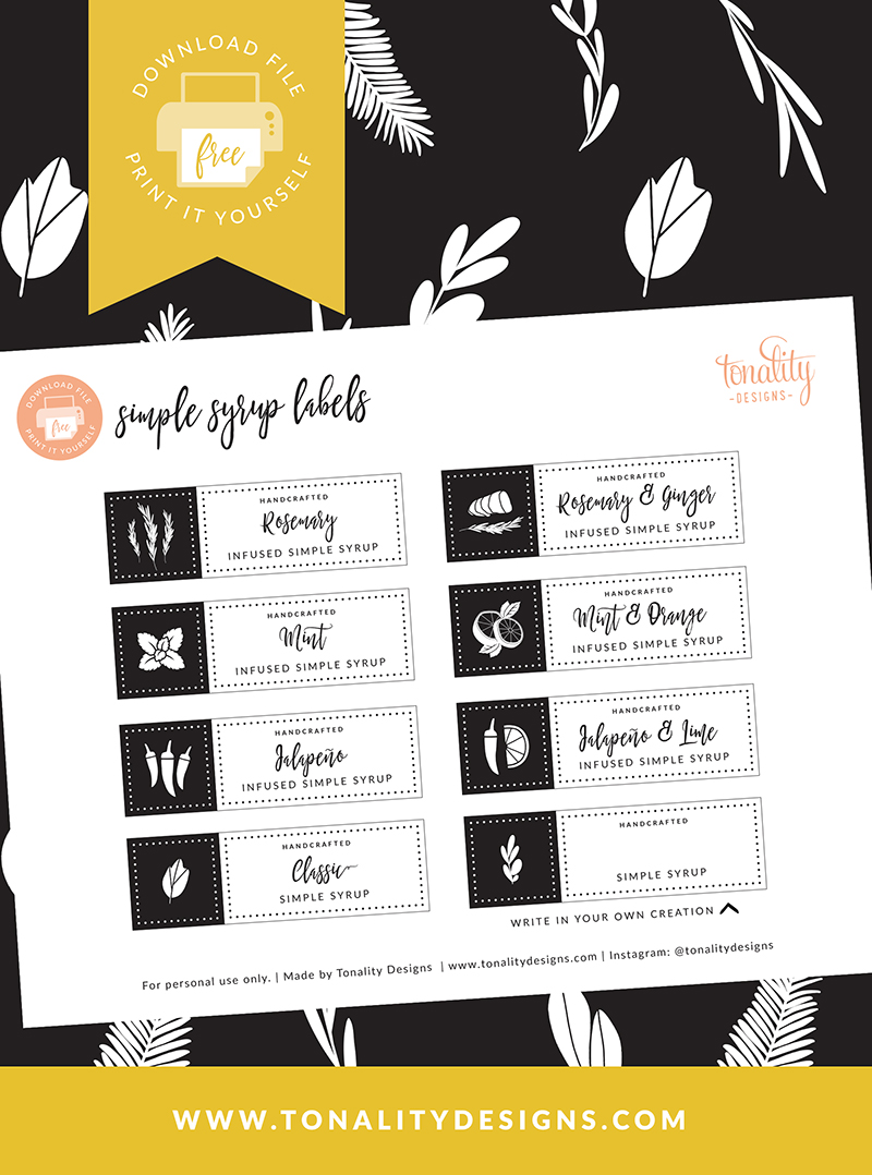 Infused Simple Syrup Recipes with Free Labels - Tonality Designs