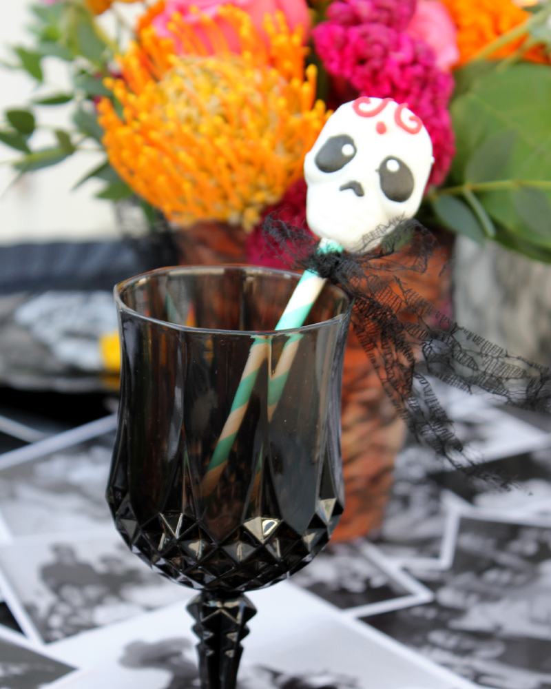 DIY Sugar Skull Drink Stirrers for Day of the Dead Party