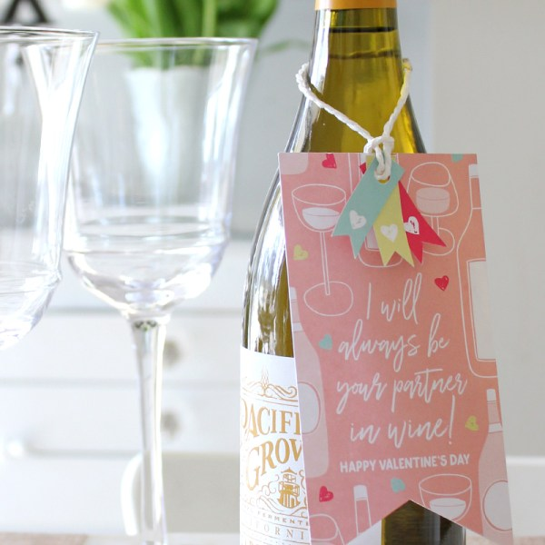 "Printable Partners In Wine Valentine - a ""Classroom"" Valentine Idea for Adults"