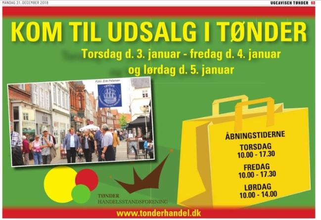 Torsdag den 3. januar starter udsalget i Tønder