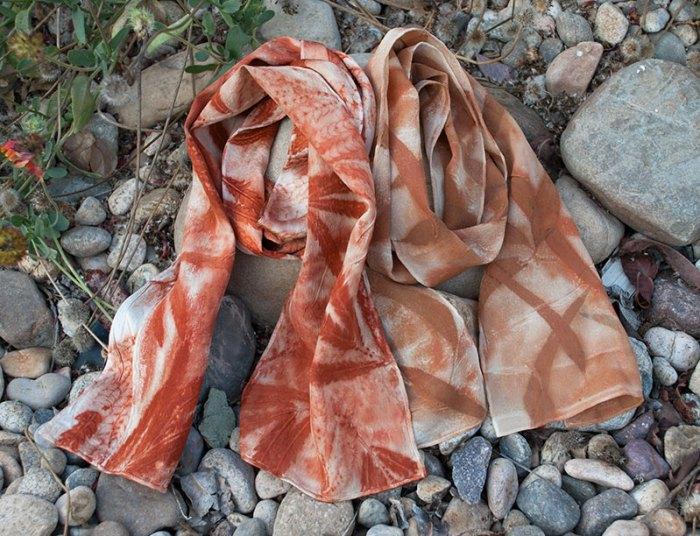 Cassandra Tondro leaf print scarves
