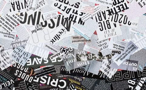 "Cassandra Tondro, ""Too Much Information,"" coronavirus collage art"