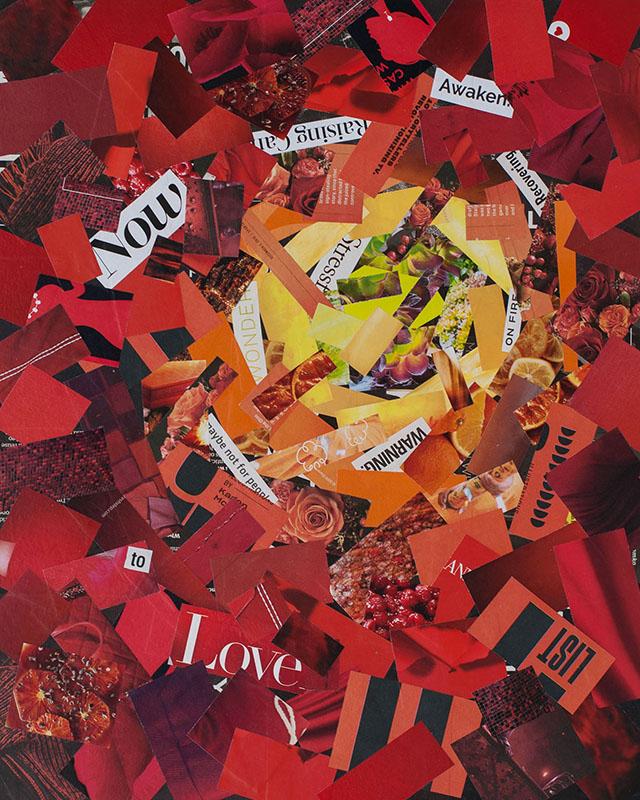 "Cassandra Tondro, ""Cytokine Storm,"" coronavirus collage art"