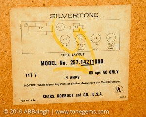 Sears 10XL Silvertone 1421 Label