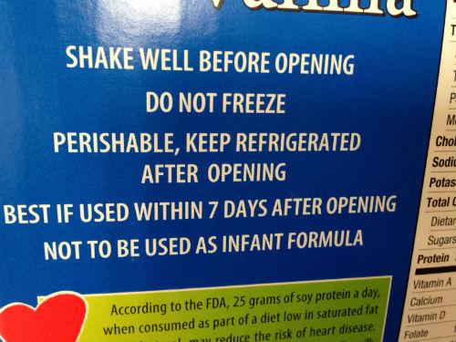 オーガニック豆乳バニラ味に関するご注意
