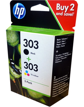 HP 303 Black and Colour Value Pack Ink Cartridges 3YM92AE ...
