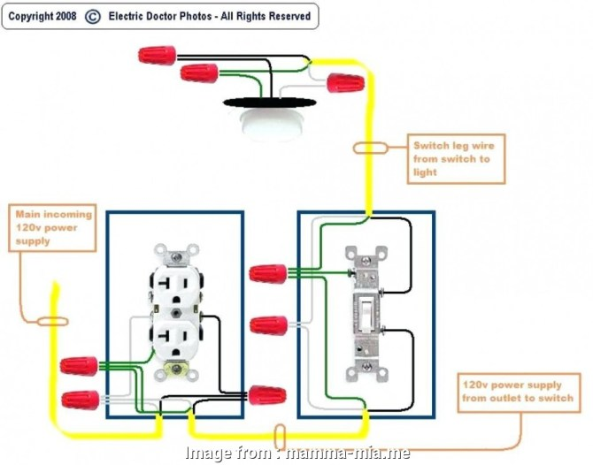 diagram wiring a light switch and outlet together diagram