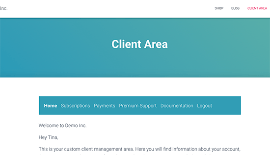 Ejemplo de un área de cliente creada en WordPress