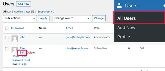 Editar cuenta de usuario
