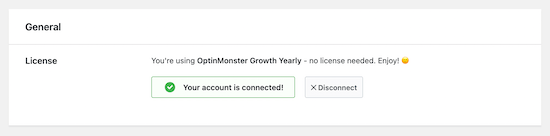 Cuenta de OptinMonster conectada