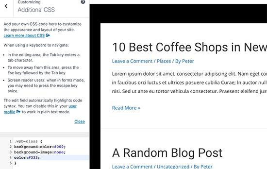 Agregar CSS personalizado en el personalizador de temas