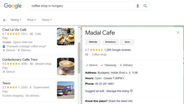 Cita NAP en Google Map, que muestra el nombre, la dirección y el número de teléfono de una cafetería húngara