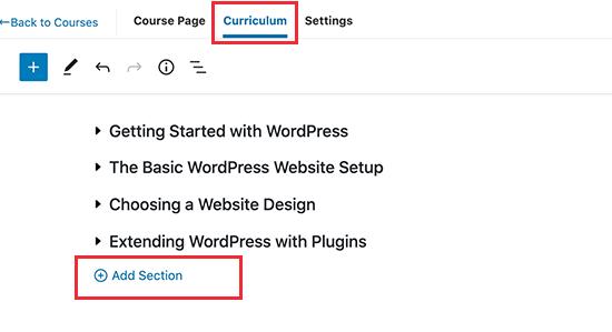 Agregar secciones del curso en MemberPress