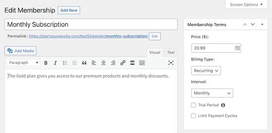 Página de membresía de MemberPress