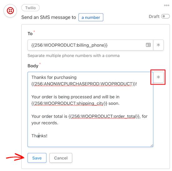 Personalizar el mensaje SMS de Twilio