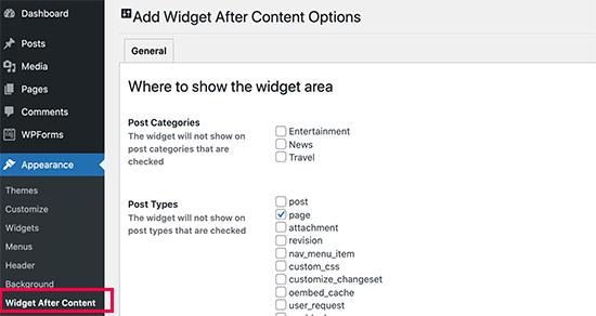 Widget después de la configuración de contenido