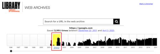 Archivo web de la biblioteca del congreso seleccione año