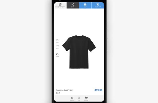 Vista previa móvil del creador de productos personalizados para WooCommerce