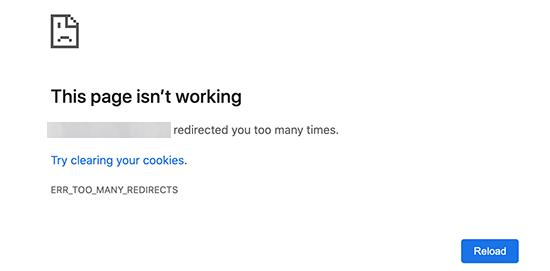 Error de demasiados redireccionamientos en Google Chrome
