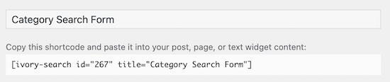 Copiar código corto de búsqueda de categoría