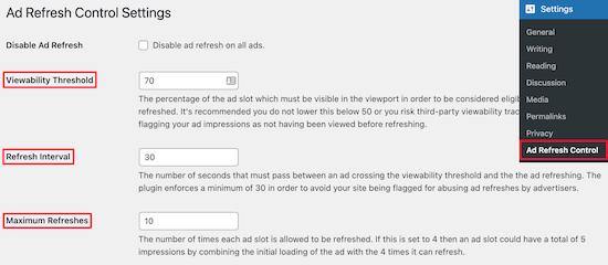 Control de actualización de anuncios plugin ajustes