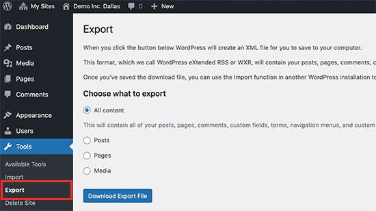 Exportación de un solo sitio desde una red multisitio de WordPress