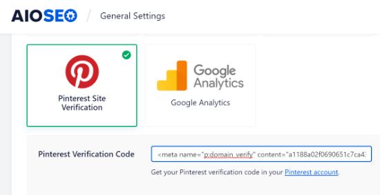 Ingrese el código de verificación de Pinterest