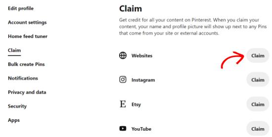 Haga clic en reclamo de sitios web