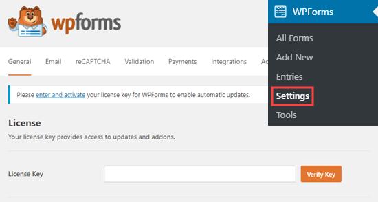 Ingresando su clave de licencia de WPForms en su sitio