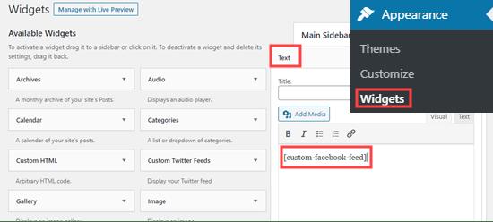 Agregar una fuente de Facebook personalizada a un widget