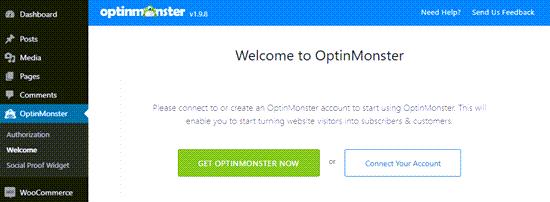 Conecte OptinMonster a su sitio de WordPress