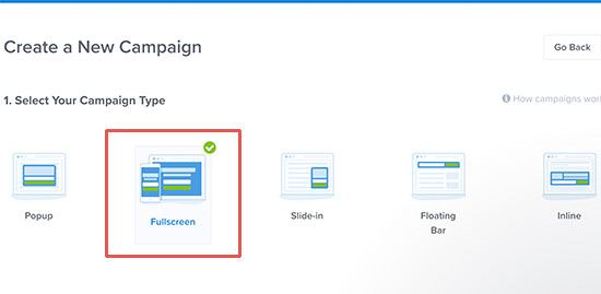 Elija pantalla completa como tipo de campaña