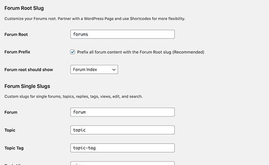 Cambiar slugs de URL del foro