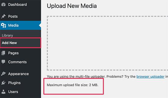 Límite de carga de archivos de WordPress